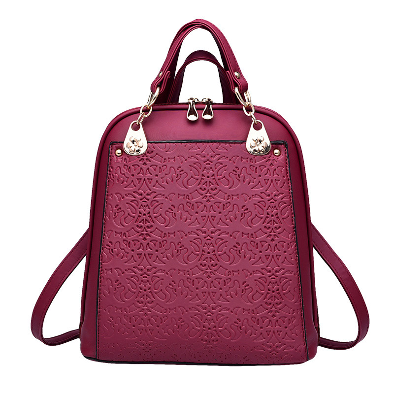 New Printing PU Leather Backpack Women Shoulder Rucksack University Bags for Teenage Girls Designer Brand Korean