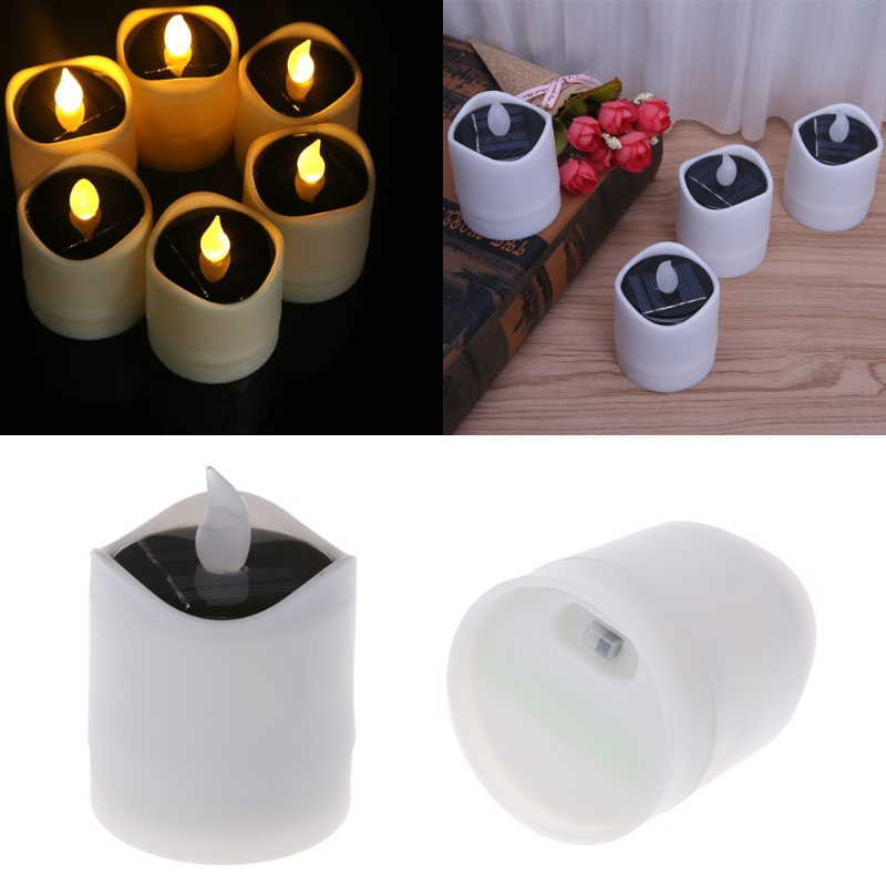 2018 Fashion Solar Powered LED Candle Light Yellow Flicker Tea Lamp Festival Wedding Romantic Decor