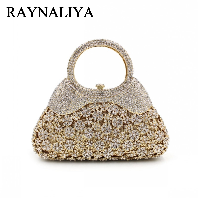 Women Gold Crystal Evening Totes Bags Bridal Diamond Handbags Purses Wedding Clutches Ladies Party Prom Clutch Bag ZH-A0048 2017 luxury flower evening bag handmade diamond clutch bags women crystal butterfly handbags party velvet clutches purses jxy784