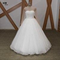 Incrível Branco Bola Vestido de Casamento Vestido Chic Pérolas Manga Comprida Puffy Tulle Vestidos De Noiva Árabe Vestido De Casamento