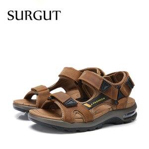 Image 4 - SURGUT แบรนด์ขายร้อนแฟชั่นฤดูร้อนรองเท้าแตะชายหาดรองเท้าผู้ชาย Hollow คุณภาพสูงรองเท้าแตะหนังแท้รองเท้าแตะ