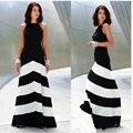 Европейский Стиль Новый Женский Летнее Платье Черно-Белый Полосатый Тонкий был Тонкий Макси Платье Сексуальный Длинное Платье Горячие Модели BL81