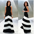 European Style New Women Summer Dress Black And White Striped Slim Was Thin Maxi Dress Fashion Sexy Long Dress Hot Models BL81