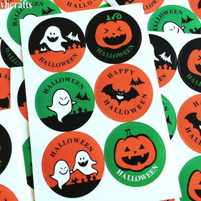 Pumpkin Ghost Bat Paper Sticker Bake Sealing Stickers Craft Material Diy Label Wall Fridge Outlet