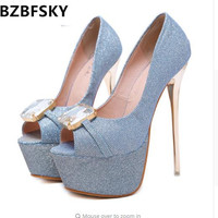 Ladies Pumps 16cm High Heels Party Wedding Shoes Sexy Open Toe Platforms Shoes Women Rhinestone Shoes Spring Office Ladies Heels