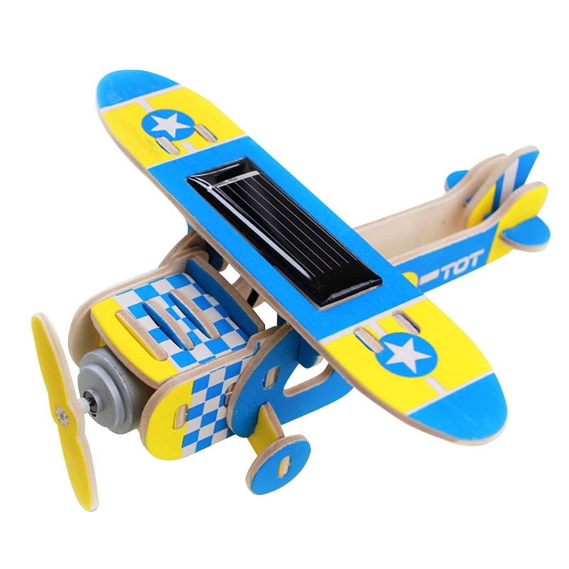 Children Wooden Toy Solar DIY Aircraft Wood Plane Child Educational 3D Puzzles Jigsaw Toy for Kid Gifts solar military transport plane baron p320 jigsaw puzzle building blocks environmental diy toy