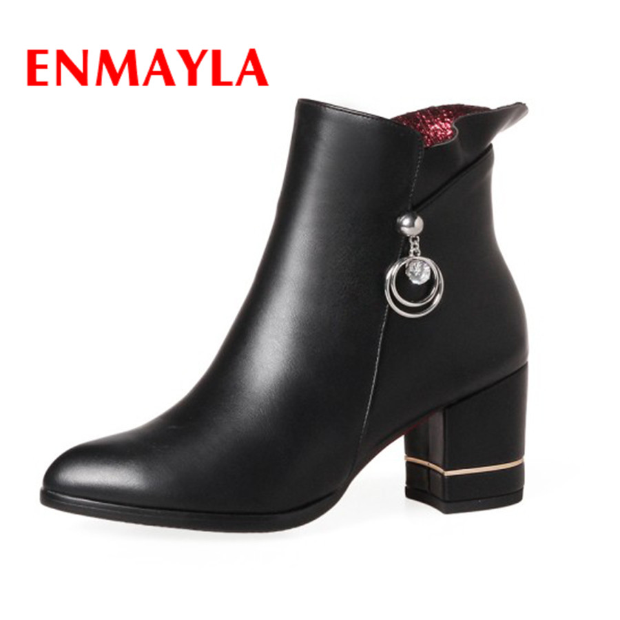 ENMAYLA New Womens Casual Winter Boots High Heels Crystal Zipper PU Shoes Pointed Toe Black Plush Ladies Fashion Boots enmayla new lace up boots for women western solid pu shoes pointed toe spring autumn boots 34 43 womens fashion dating shoes