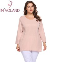 IN VOLAND Large Size Women Basic T Shirt Tops XL 5XL Autumn Spring Long Sleeve Big