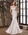 Dreagel Nova Moda O-pescoço Botão Satin Mermaid Vestido de Noiva 2017 Apliques Delicados Frisada Princesa vestido de Noiva Robe De Mariage