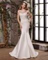 Dreagel Nuevo O-cuello de La Manera Botón de Raso Vestido de Novia Sirena 2017 Delicado Apliques de Perlas Princesa Novia Vestido De Robe De Mariage