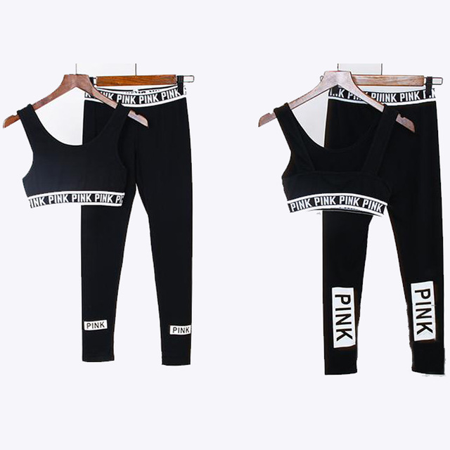 100% cotton yoga clothing set 2016 fashion letter pink style tracksuit 2pcs short vest+pants black teenage clothes suit 17-19Y