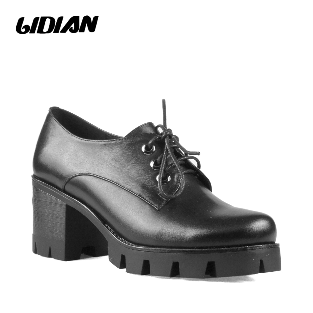 LIDIANHigh Heels Woman Pumps Lace Up Round Toe Platform Footwear Genuine Leather 2018 Fashion Casual Female Autumn S B46 2