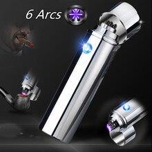 새로운 시가 USB 라이터 전기 6 펄스 아크 담배 파이프 라이터 담배 강력한 6 플라즈마 천둥 금속 담배 액세서리