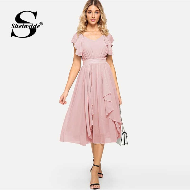 d3c2efbf08 ... Sheinside Pink Elegant Ruffle Hem Dress Women High Waist Zipper Midi  Dress 2019 Summer V Neck ...
