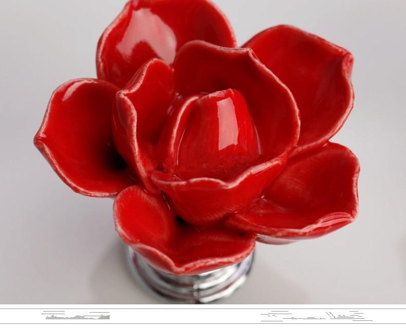 10pcs Red Rose Flower Knobs Ceramic Handle Kids Desk Pulls Cartoon Knob Dresser Kitchen Accessories Drawer Closet  Almirah