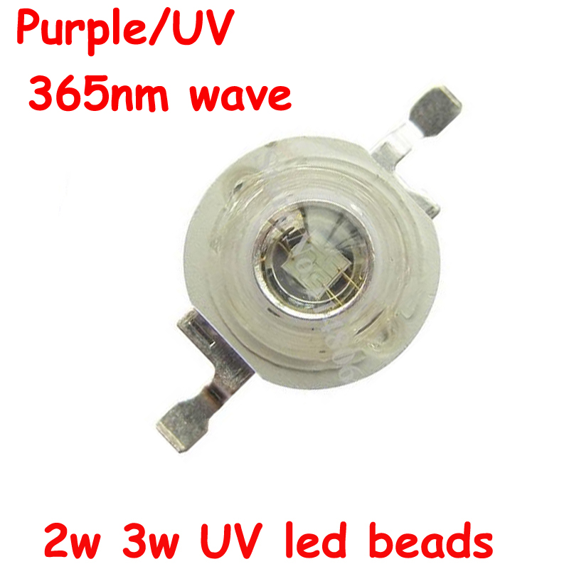 Free Shipping 1pcs High Power 2W 3W 3.4-3.6V 600-700mA UV Ultraviolet Purple 365nm LED Beads Light Part for Spotlight Flashlight