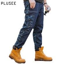 Plusee men denim jeans blue casual men's jeans pocket 2017 spring Full Length plus size loose straight big size men denim jeans