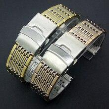 Hombres Mujeres de La Manera Correas de reloj de 20mm de Plata con Rosegold oro Hebilla de seguridad de Acero Inoxidable con estilo Recto End Correa de Reloj Band