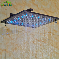 Luxury Wall Mounted Shower Head LED Color Changing Shower Sprayer With Shower Arm Bathroom Shower Fitting