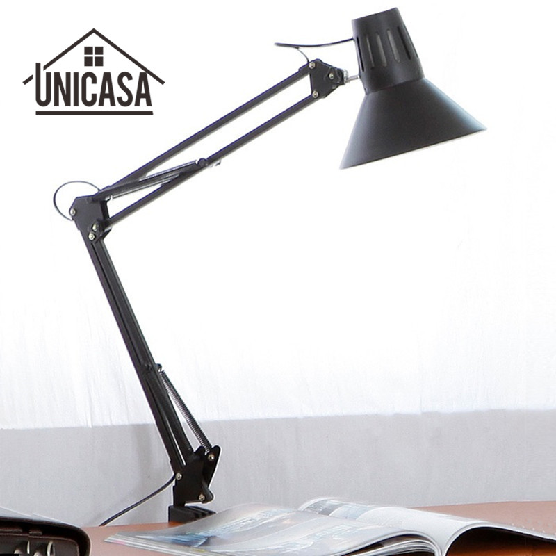 Black Desk Lamps Adjustable Clip Table Lights Bedside Desk Top Table Lamp Bedroom Office Light Libraly Porch Industrial Lighting modern industrial style table lamps lights for bedroom bedside folding desk lamp clip dimmer led light clamp lampshade abajur