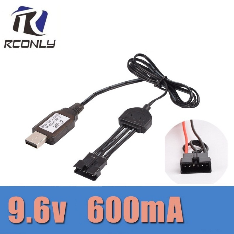 RCONLY JYRC 9115 9116 S911 S912 RC Car Upgrade spare parts Double battery cable 9.6V 600mah 6P SM Plug Battery Charger