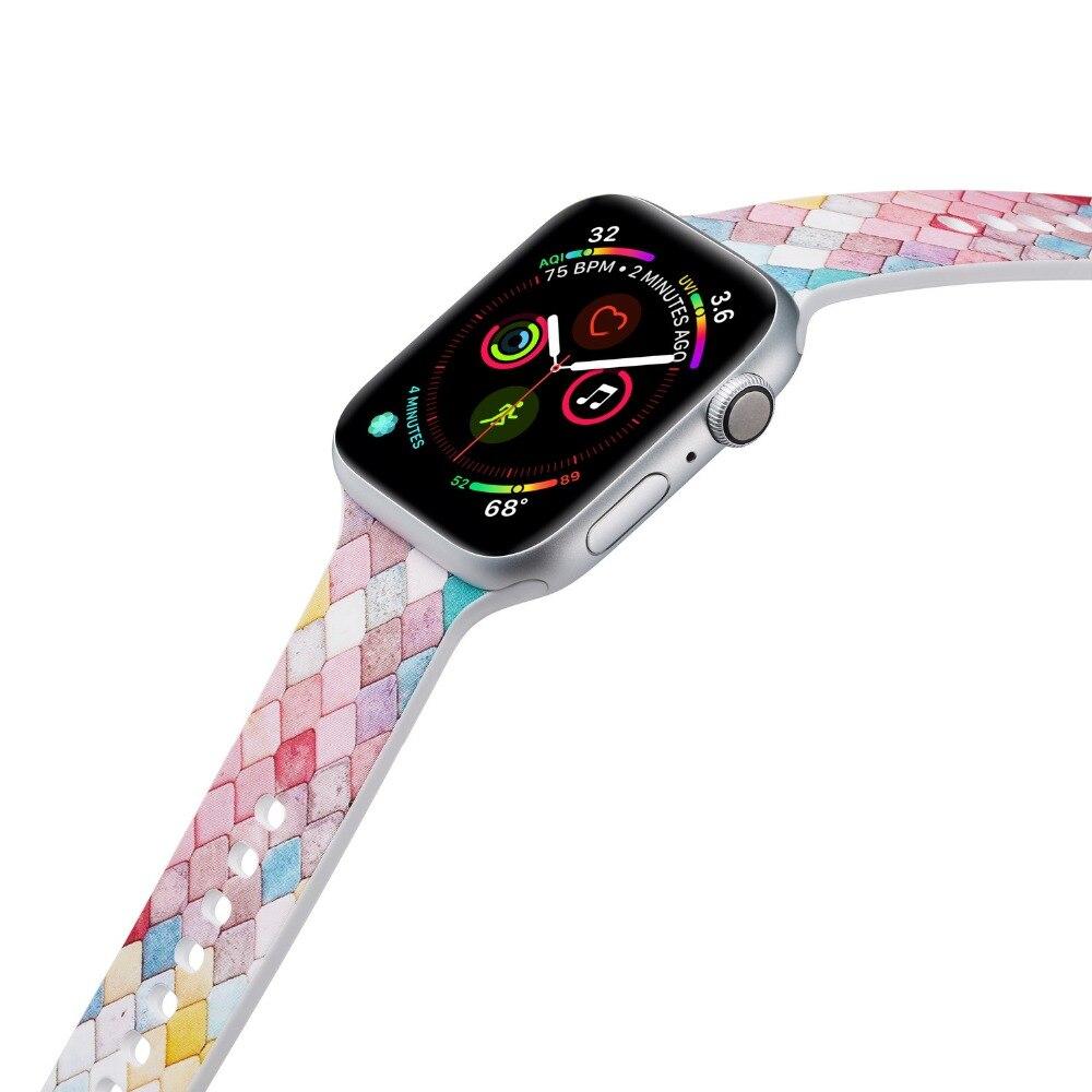 """סיליקון ספורט להקת עבור אפל שעון סדרת 4 40/44 מ""""מ הדפסי iwatch רצועת חגורת שעוני יד צמיד עבור 38 /42 מ""""מ סדרת 3 2 1 I368"""