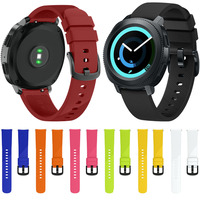 Large Small Size 20mm Width For Samsung Gear Sport Strap Metal Buckle Band Silicone Watchband For