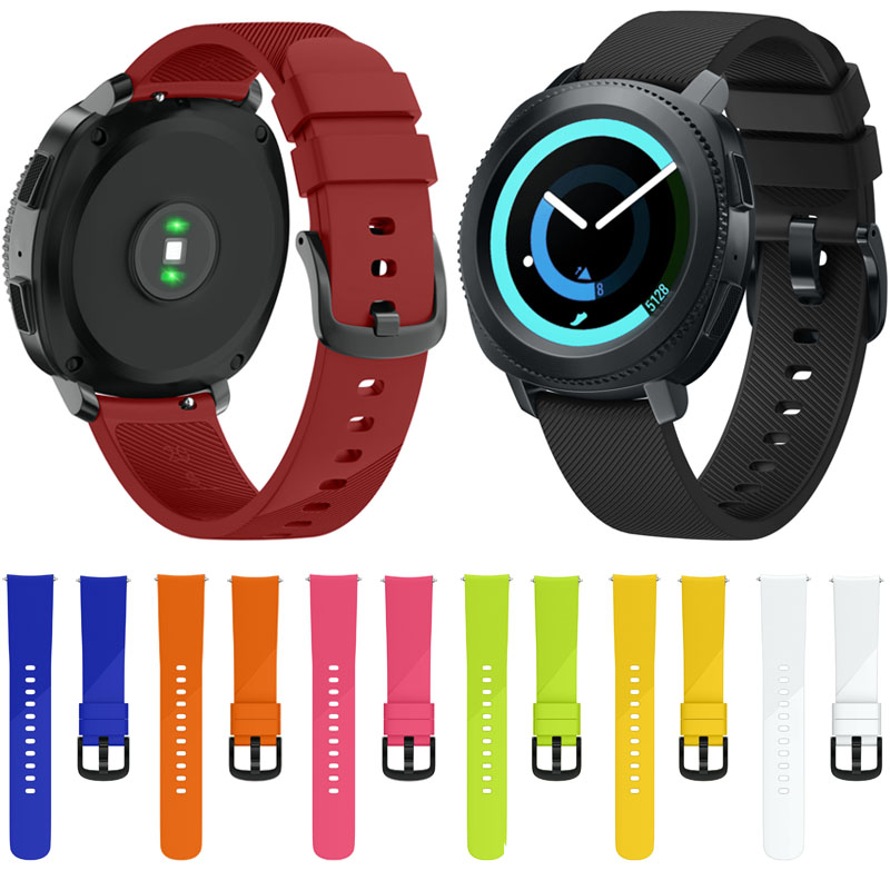 Large/Small size 20mm Width for Samsung Gear Sport Strap Metal Buckle Band Silicone Watchband for Samsung Gear S2 Classic Strap silicone band strap wristband for samsung gear s2