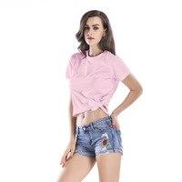 bf11a14b3e4c8 Bow Pink Short T Shirt Women Tops 2018 Summer Solid Cotton Casual Harajuku Sexy  T-