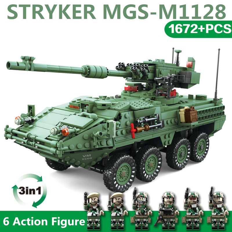 Ww2 Christmas Gifts.Us 42 63 30 Off 1672pcs Building Blocks Stryker Armored Vehicle Model Block Military Ww2 Bricks Education Toys For Children Christmas Gifts In