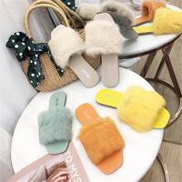 women fur slippers Fur Slides Furry Female Indoor Slippers Furry Summer Shoes Woman Sandals canday color shoes women
