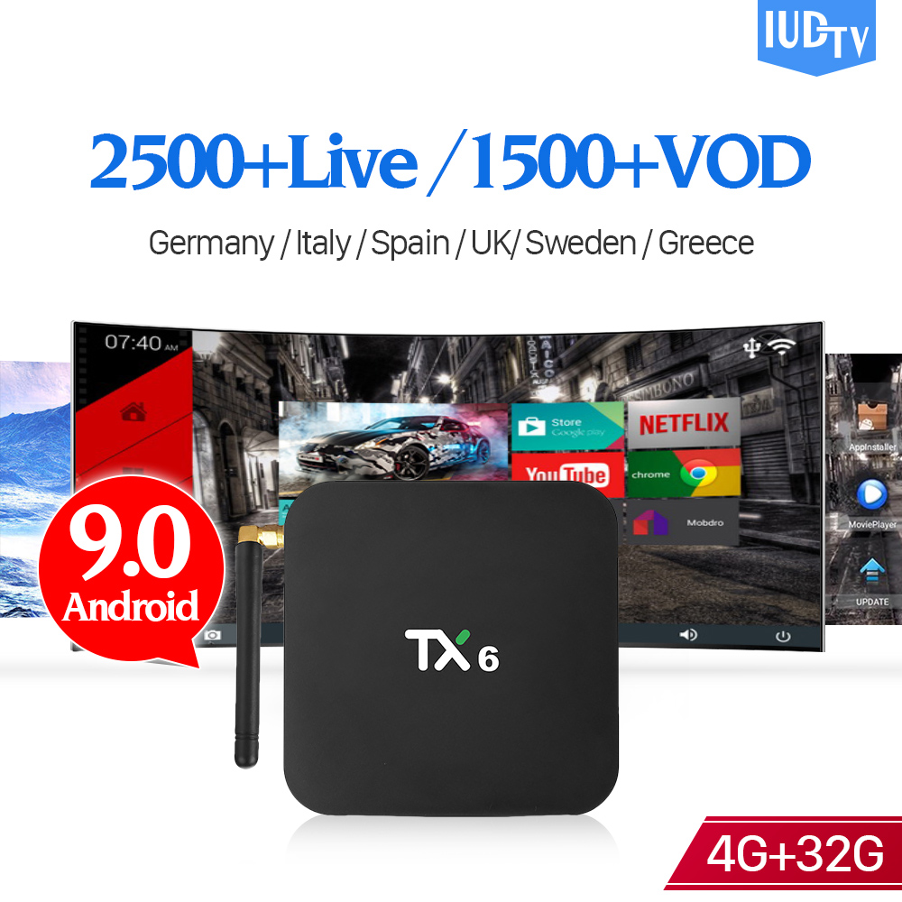 TX6 IPTV Swedish Box Android 9.0 4G 32G with 1 Year IUDTV IPTV Subscription IPTV Spanish Italy Sweden Greece Portugal IP TV     TX6 IPTV Swedish Box Android 9.0 4G 32G with 1 Year IUDTV IPTV Subscription IPTV Spanish Italy Sweden Greece Portugal IP TV
