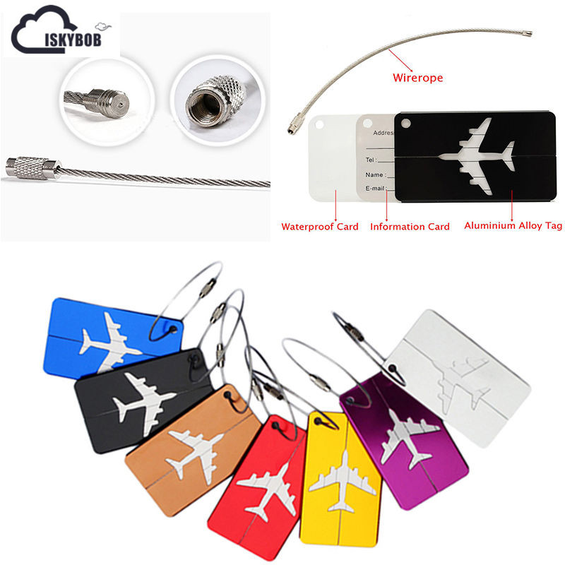 Hot Sale luggage tag Airplane Square Shape ID Suitcase Identity Address Name Labels trav ...