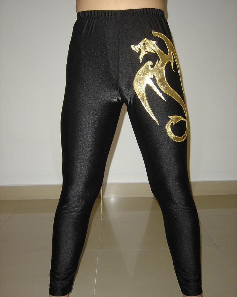 Custom Black Lycra Spandex Gold Dragon Youth Wrestling