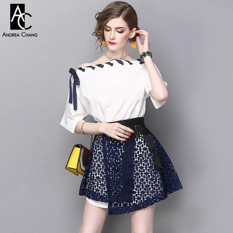 1ccd645644 Primavera Verano pista diseñador ropa Camiseta de algodón blanco cuello  Cinta Azul ahueca hacia fuera la falda del bordado en Sets mujer de La ropa  de las ...