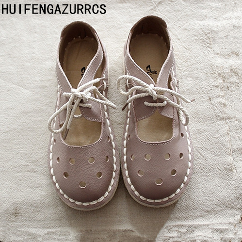 HUIFENGAZURRCS New Summer real leather Hollow outshoes original Handmade shoes the retro art mori girl casual