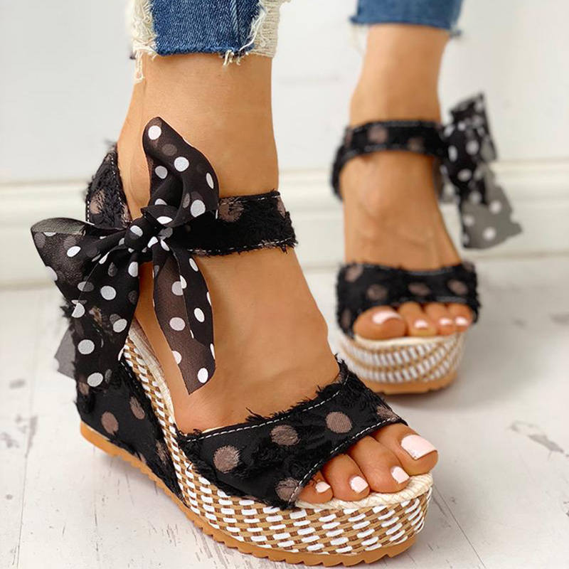 HTB1SX7gXUCF3KVjSZJnq6znHFXae Women Sandals Dot Bowknot Design Platform Wedge Female Casual High Increas Shoes Ladies Fashion Ankle Strap Open Toe Sandals