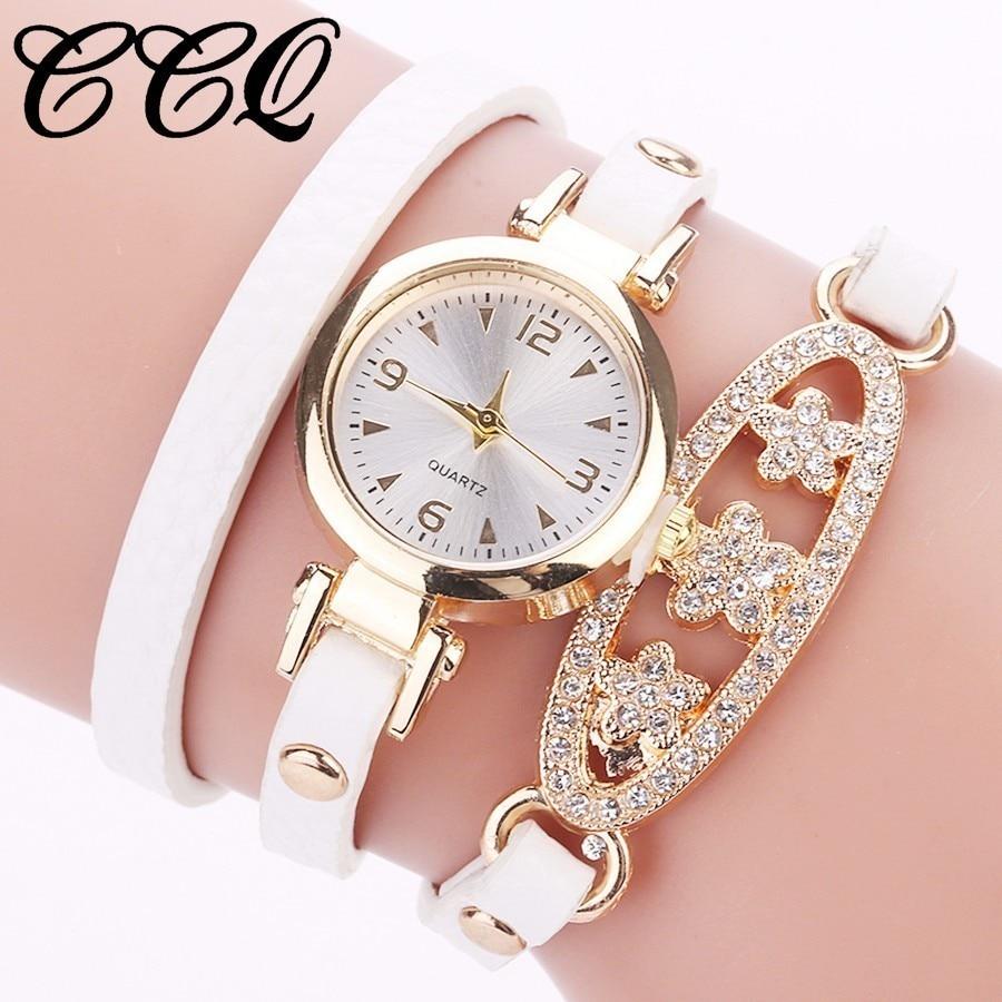 Fashion Women Bracelet Watches Ladies Long Leather Rhinestone Jewelry