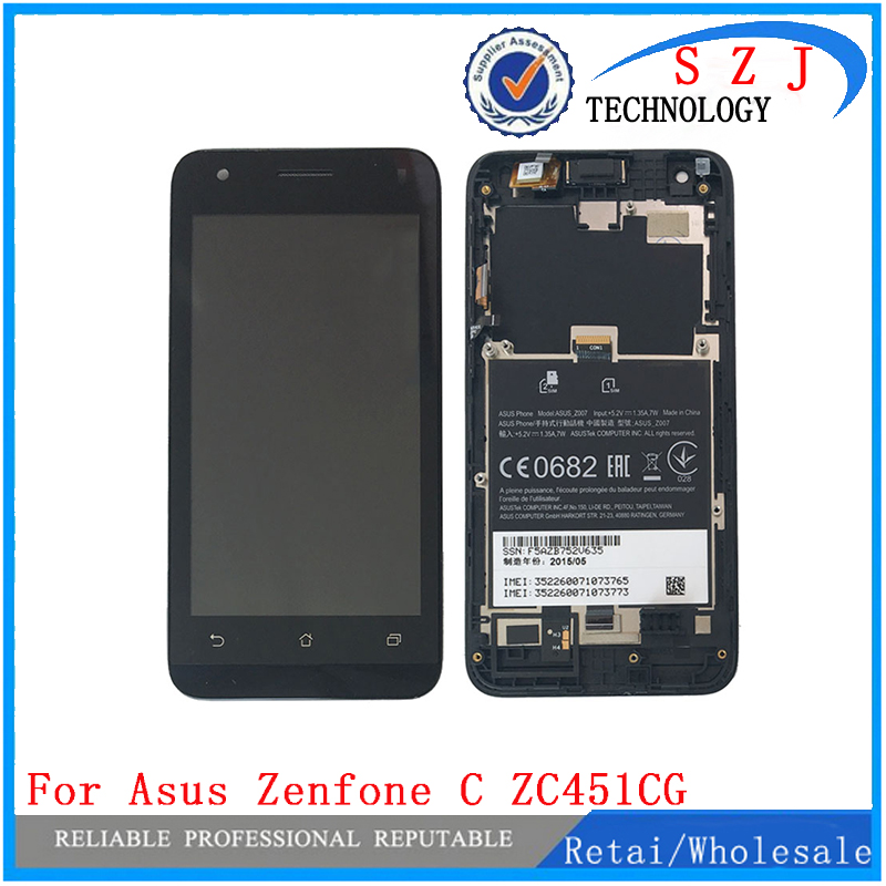 New Black Touch Screen Glass Digitizer LCD Display Assembly + Frame For Asus Zenfone C ZC451CG Free Shipping free dhl brand new black lcd display touch screen digitizer assembly for sony xperia z1s l39t c6916