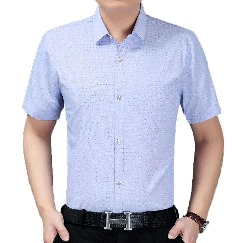 Man Basic Shirt Simplicity Small Dot Pattern Tops Summer Men Business Casual Shirts Blue Purple Blouses Male Essential Shirt 2XL
