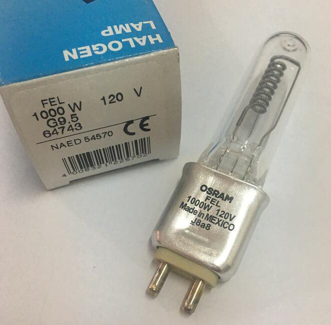 OSRAM FEL 64743 120V 1000W halogen lamp,NAED 54570 LIF CP/77 120V1000W bulb,Infrared heating,STTV stage studio lights