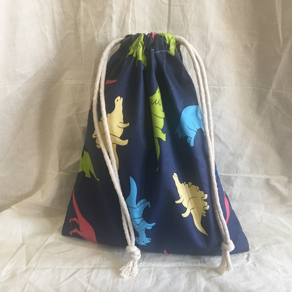 Cotton Drawstring Eco Organized Pouch Party Gift Bag Print Dinosaur Navy Blue YL311b
