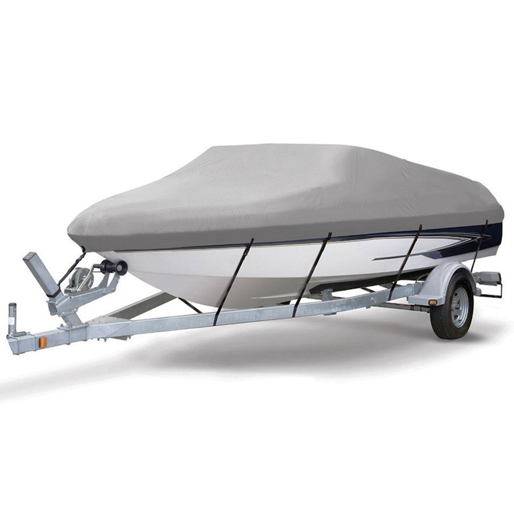 14 19ft Trailerable 210D Boat Cover Waterproof Grey Fish Ski V Hull Sunproof UV Protector Speedboat