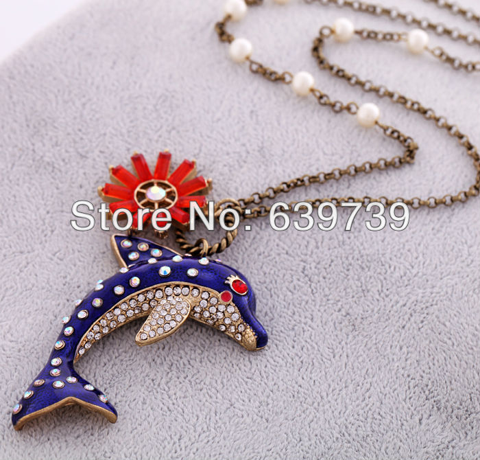 Cute Blue Dolphin Onyx Flower Pendant Gold Color Long For Grils Women Beaded Simulated Pearl Necklace