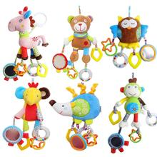 Baby Cartoon Animal Plush Hand Bell Grasp Educational Toys Infant Rattle Mobility On The Crib Bed Hanging Toy