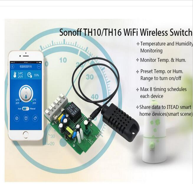 Sonoff TH 10A/16A Temperature Humidity Monitor WiFi Wireless Smart Switch For S