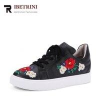 RIBETRINI Brand design Otoño Bordado de la Manera de Cuero de Vaca Zapatos de Mujer Zapatos de Las Mujeres Tamaño 34-39 de Cuero de Geniune