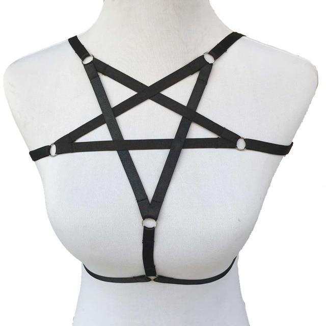 Pentagrama negro arnés jaula sujetador de la ropa exótica Harajuku gótico cosplay lencería sexy bondage arnés de baile vestidos sujetador arnés