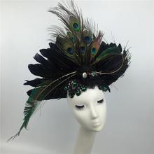 Женский роскошный головной убор для шоу на сцене, головной убор с перьями, подиумное шоу, павлин, зеленое перо, плавающий увеличенный головной убор, портретная шляпа, B-9549