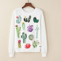 KaiTingu Women Fashion Hoodies Sweatshirt Casual Long Sleeve White Pullover Harajuku Cute Cactus Print For Autumn
